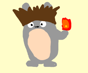 totoro with anime hair and fire in hand