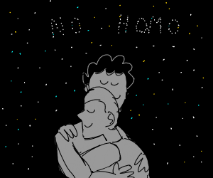 two men hugging under stars (no homo)