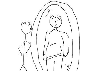Skinny guy looks in mirror & thinks he's fat