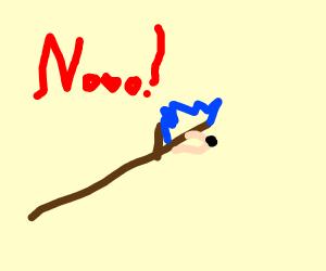 Stick Sonic leaves mario