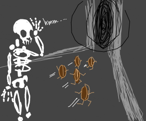 Skeleton man confused as coffee beans escape