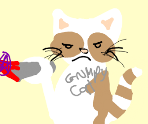 Grumpy cat has a fork and stabs hexagonish