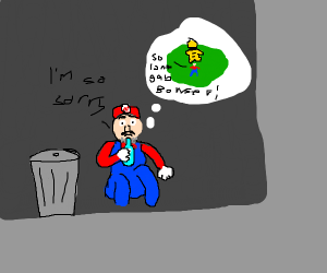Mario regretting his fights with Bowser