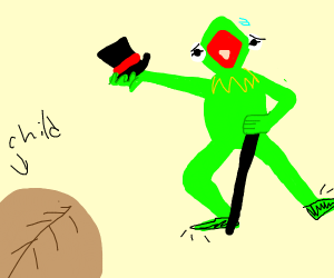 Kermit the frog dancing to amuse a child