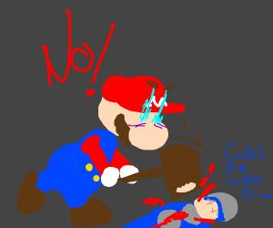Mario bashing a guy with a poke hammer