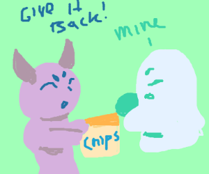 Chibi demon & ghost fight over a fastfood bag