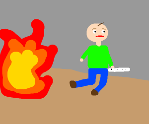 baldi with fire behind him