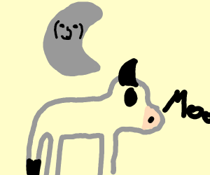 Moon jumping over a cow.