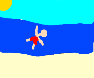 someone swimming in the sea next to the beach