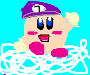 Kirby Dressed as Waluigi in Heaven