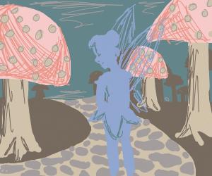 Fairy girl walking thru a mushroom village