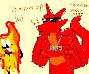 dragon coach burns person with fire breath