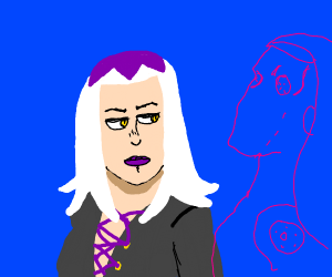 Long white and purple haired jojo guy