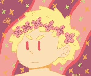 Disgruntled flower-crown boy