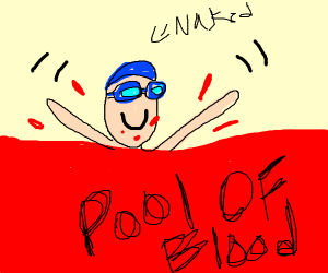 Naked man swimming in a pool of blood