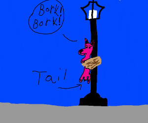 Pink dog(?) tied to street lamp