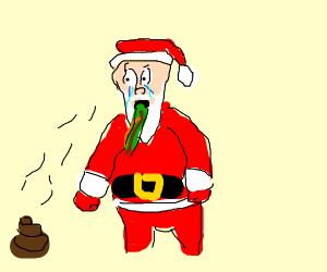 Santa vomited after smelling feces.