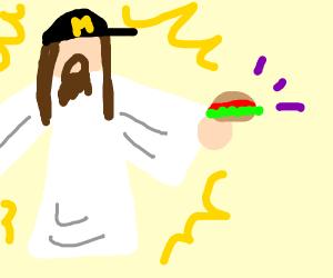 God selling burgers