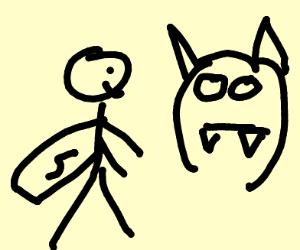 Superhero and bat
