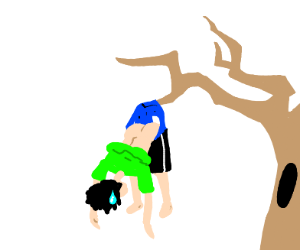 Getting wedgied by a tree