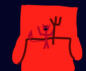tiny satan sitting in a chair