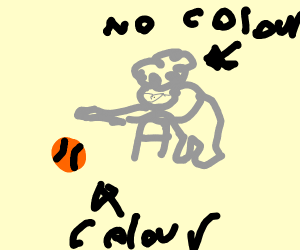 Grandma with no color plays with a color ball