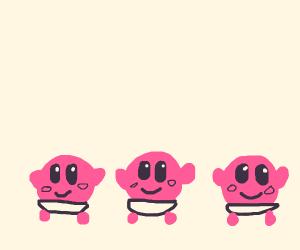 three baby Kirbys