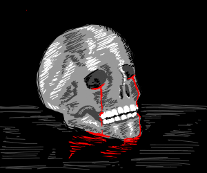 skull crying blood