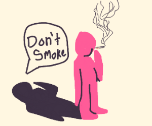 The shadow man says not to smoke.
