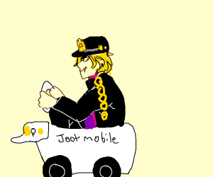Dio dress up as Jotaro riding a Jotaro car