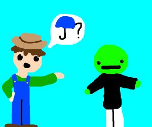 A farmer asking a green man for umbrellas