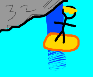 Guy surfing down a Waterfall
