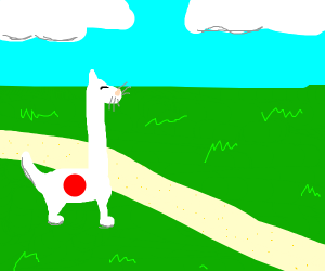 japanese white cat with long neck
