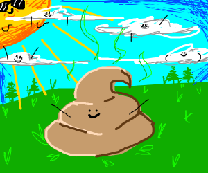 Poop in the sun with green lins touching clou