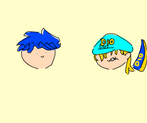 blue haired jojo character w/ dinosaur dio