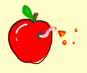 Worm spits fire in his apple house