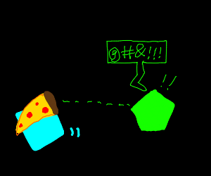 Blue steals Green's pizza