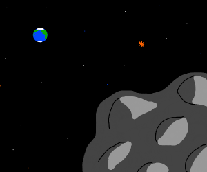 Rock in space with earth in the distance