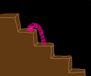Pink slinky going down stairs