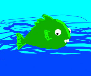 a green fish with rabbit teeth and derpy eyes