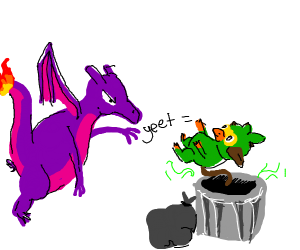 Purple charizard yeets grooky into the traash