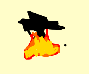 A weird symbol burning in fire pit