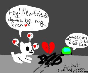 doggie attempts to befriend dead cat