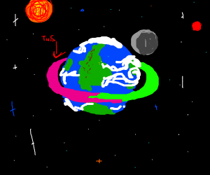 Green and pink ring(around the planet)InSpace