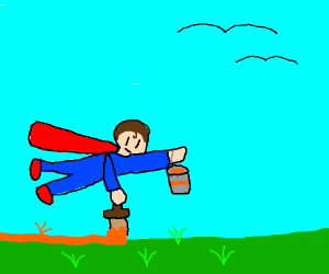 Superman paints the grass orange