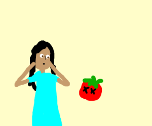 A girl seeing a dead tomato on her floor