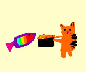 Rainbow fish wants some of Garfield's lasagna