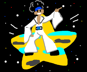 man dancing disco on a star shaped planet