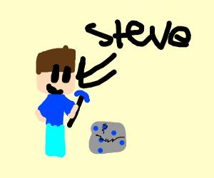 steve breaking out of some lapis blocks