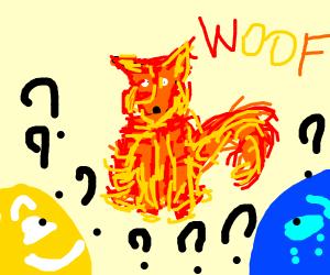 Joy & sadness confused by fire dog